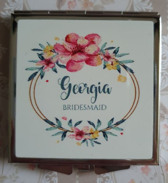 Personalised Wedding Compact Mirror - Design 9